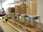 The cereal station has been streamlined with new dispensers.
